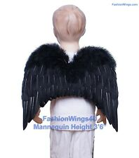 FashionWings Children Toddlers Unisex Black Costume Feather Angel Wings