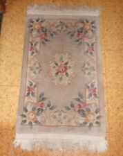 Chinese Aubusson Sculpted Rose Oriental Rug 2' x 3' +fringe lite sage green   VG