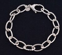 Diamond Cut Textured Oval Rolo Link Bracelet Shiny Real925 Sterling Silver