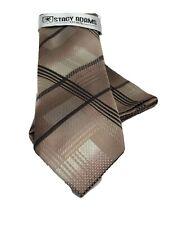 Stacy Adams Men's Tie Hanky Set Beige Khaki Brown 100% Microfiber Hand Made