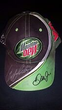 NASCAR AUTO RACING 3 RACERS HAND SIGNED AUTOGRAPHED MOUNTAIN DEW CORPORATE CAP