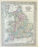 Antique County Map of England & Wales c1872 Cowperthwait & Mitchell, color VGC