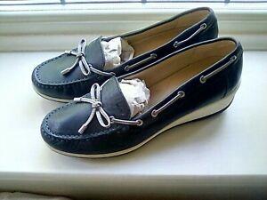 BNWOB GEOX LADIES Navy Blue Leather Wedge Shoes 41 7.5 RRP £99