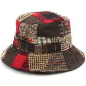 Tweed Bucket Hat Hawkins Patchwork Wool BLUE RED 4 Sizes Fisherman Cap