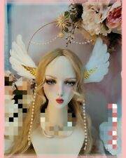 Retro Halo Crown Headband Virgin Mary Headpiece Spike Sun Feather Wing Hair Hoop