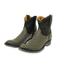 Mexicana Old Gringo Black Leather Laguna Riveted Ankle Boots 39.5 US 9