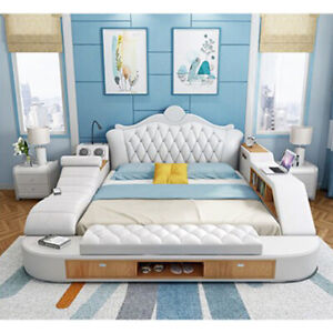 Smart Multi functional luxury Modern Massage Bed Nordic camas Italian Leather