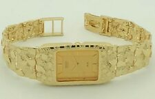 """Seiko 14K Solid Yellow Gold Watch 8"""" Nugget Style Wrist Watch Link 57.7 grams"""