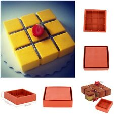 Square Cubic Lattice Shaped Wine Red Cake Mold Silicone Baking Mousse Dessert