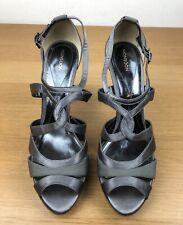 Monsoon Gris Plata Zapatos Taco aguja Zapatos Sandalia Zapatos Talla 8 Navidad Fiesta Baile Boda