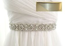 Crystal Wedding Bridal Dress Sash Belt = in SILVER satin sash