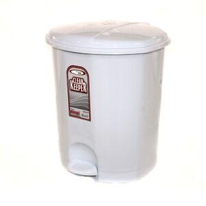 Pedal Lid Plastic 5 L Waste Dustbin Rubbish Garbage Bin Bathroom Toilet, WHITE