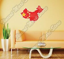 "China Country Flag Map Grunge Vintage Wall Sticker Room Interior Decor 25""X20"""