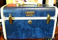 Vintage Samsonite Blue Marble Train Case Shwayder Bros Style 4712 NICE