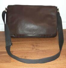 Large Fossil Brown Leather Front Magnet Flap Vintage Messenger Bag !