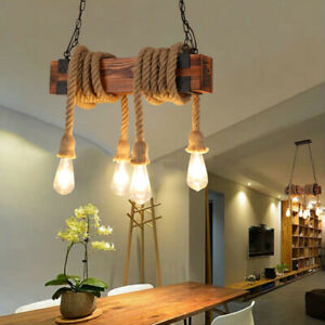 Country Style Original Square Wood with Hemp Rope 4 Bulbs Chain Pendant Lights