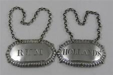 Pair Georgian Silver Decanter Labels Rum Hollands 1808