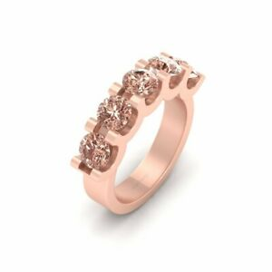 2.25ct Champagne Diamond 5 Stone Engagement Ring For Her Rose Gold Fn 925 Silver