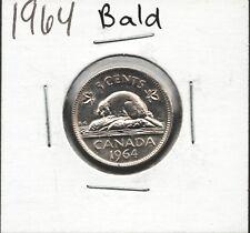 1964 5¢ Canada Nickel coin. Minting error, worn die. Bald Beaver. mint state