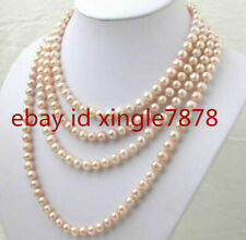 Real 7-8mm Natural Pink Freshwater Akoya Pearl Necklace 100'' AAA++
