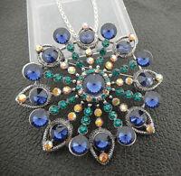 Betsey Johnson Blue Green Crystal Rhinestone Big Flower Pendant Necklace/Brooch