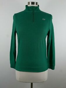 Vineyard Vines Boys Cotton LS 1/4 Zip Solid Green Pullover Sweater Youth M 12/14