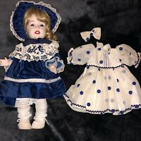 Vintage Ceramic Doll with 2 Adorable Antique Doll Dresses & Bonnet Clothes