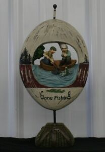 Gone Fishing Table Top Display Sign Net Basket Rustic Decor Cabin
