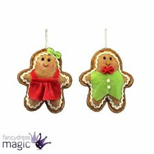 GIsela Graham Fabric Gingerbread Boy Girl Hanging Christmas Xmas Tree Decoration