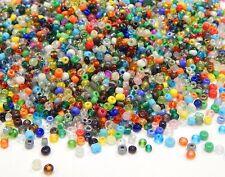 500g Rocailles Perlen 3mm Rund Glas Opak Silbereinzug Transparent Mix Z14#500g