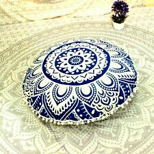 Mandala Design Floor Cushion Cover Cotton Fabric 32 Inches Large Round Beautiful