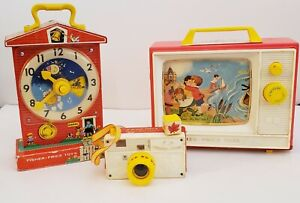 Vintage Fisher Price Toys. Lot of 3 Musical TV, Camera and Clock. Collectible