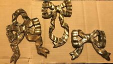Vintage Home Interiors & Gifts Syroco Golden Bows Set Of 3 New In Original Box