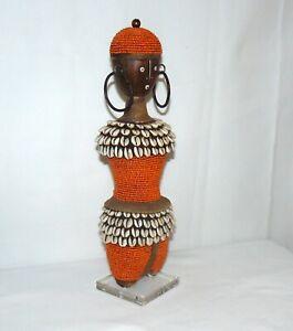 African Kenti Cloth Hand Beaded Wood Figure Orange Beads Cowrie Shells