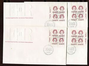 CANADA 1976, 10 CENT QUEEN CARICATURE DEF., Sc 593A, ALL 4 PL.BL. ON 4 FDC'S