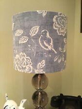 HANDMADE 20cm FABRIC LAMPSHADE ILIV BIRD GARDEN FLOWERS BLUE COTTAGE CHINTZ