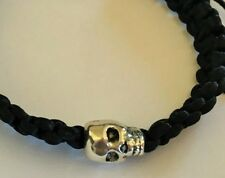 Silver coloured Skull on Black Macrame Bracelet