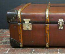 Stunning Clean Vintage Banded Cabin Trunk by Orient