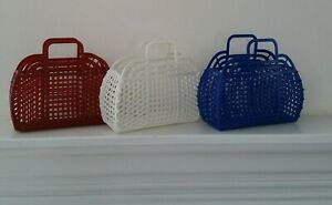 """NEW Vintage Retro PEARL WHITE 9"""" (80's) JELLY Purse as GIFT BASKET (US Made)"""