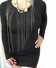 MICHAEL KORS WOMENS DRESS BLACK NECKLACE STRETCHY LONG SLV WORK PARTY SZ XS