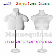 Male & Female Mannequin Torso Dress Forms White w/ 2 Stands +2 Hooks for Hanging