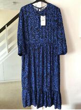 BNWT Zara Blue Animal Print Flowing Midi Maxi Insta-Famous Dress Size A 10
