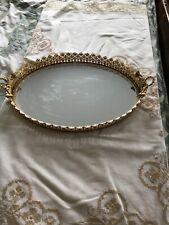 Mid Century Mirrored Perfume Jewelry Tray Brass Ribbon Handles Hollywood Regency