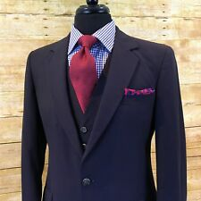 BESPOKE 3Pc Alexandre Savile Row ENGLAND Navy Ruby Pinstripe Suit Vest Pants 38S