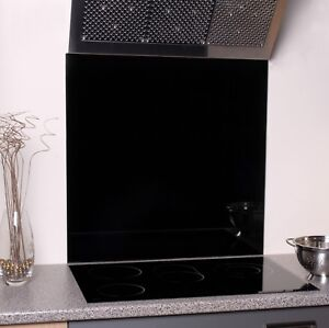 600mm x 600mm Black Toughened Glass Splash Back, 6mm thick