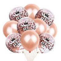 JAP 10X 12inch Foil Latex Rose Gold Confetti Ballons Happy Birthday Party Decor
