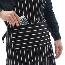 Cotton Black & White Stripes Kitchen Cooking Restaurant Apron With Front Pocket