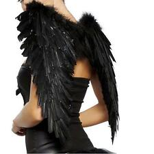 Party Costume  Swan Angel Black Feather Wings Halloween Goth High Quality NEW PN