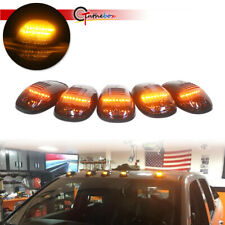 5x Smoke Cab Roof Marker Running Lamps w/Amber LED For 03-16 Dodge Ram 2500 3500