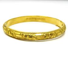 NYJEWEL 24k Gold Investment Craved 7mm wide China Bangle Bracelet!